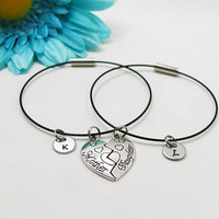 Mother Daughter Bracelet Set - Mother Daughter Bangle Set - Initial Charm - Mother Daughter Jewelry - Initial Bracelet - Custom Bracelet Set