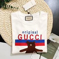 GUCCI Popular Women Casual Embroidery Print Long Sleeve T-Shirt Top