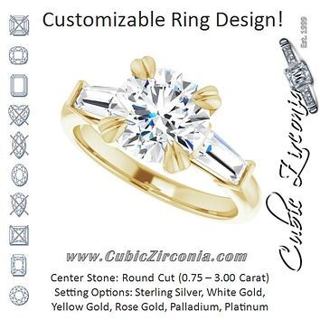 Cubic Zirconia Engagement Ring- The Betyhelena (Customizable 3-stone Round Cut Design with Tapered Baguettes)