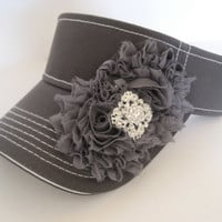 Adorable Grey White Stiched Golf Sun Visor with Grey Chiffon Flowers and Rhinestone Brooch Accent