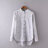 Raindrop Embroidery Stand Collar Long Sleeve Blouse