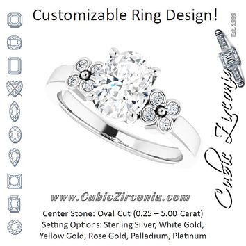Cubic Zirconia Engagement Ring- The Heidi Grethe (Customizable 9-stone Design with Oval Cut Center and Complementary Quad Bezel-Accent Sets)