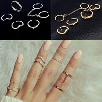 2018 Anel New Fashion 6pcs /lot Midi Finger Knuckle Rings Charm Leaf Ring Set Shiny Punk Style Color Stacking For Women Jewelry
