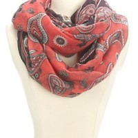 Paisley Print Infinity Scarf by Charlotte Russe - Pink Multi