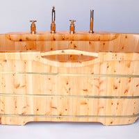 "ALFI brand AB1136 61"" Free Standing Cedar Wood Bath Tub with Chrome Tub Filler"