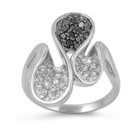 Sterling Silver Curve Design Ring with Black and Clear CZ
