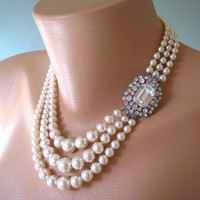 Pearl Necklace, Mother of the Bride, Great Gatsby Jewelry, Statement Necklace, Pearl Choker, Wedding Necklace, Bridal Jewelry, Art Deco