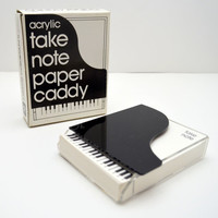 Vintage Piano Shaped Paper Caddy, Acrylic Notepaper Holder, Take Note Paper Stationery with Piano Keys, New in Box, 1980s