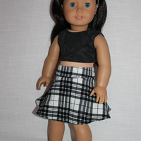 18 inch doll clothes, plaid corduroy circle/skater skirt, crop top and cotton lace headband, american girl, Maplelea