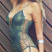 One piece  Swimsuit , Swimwear , Beachwear , Bathing suit , olive green swimsuit , one size will fit sizes from 36-40