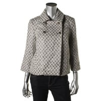 Milly Womens Metallic Double-Breasted Pea Coat