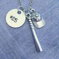 Baseball/Softball Team Number Necklaces - Baseball Necklace - Sports Jewelry - Softball Jewelry - Teammates Jewelry - Team Player Jewelry