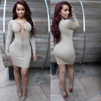 Grey Deep V  Lace Up Long Sleeves  Bodycon Midi Dress