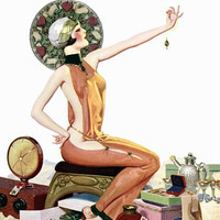 Pin Up Art Brunette Looking At Jewelry Poster