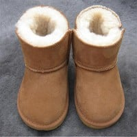 A Winter new children snow boots kids genuine leather Non-slip soft bottom boots warm shoes with fur princess baby girls boots