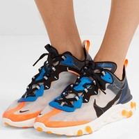 NIKE React Element 87 microsuede-trimmed ripstop sneakers