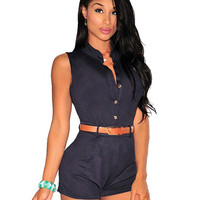 Black Stand Collar Single Breasted Sleeveless Romper