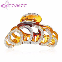 Large 6 Circles Crystal Hair Clips Beautiful Girls Stones Hairpins Crab Claws Jaw Clamp Hair Jewelry for Women Black Brown1610