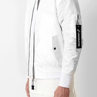B07 Stealth Strapped Bomber Jacket - White