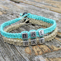 Bracelets for Couples, BAE, Before Anyone Else, Handmade Hemp Jewelry in Teal and Natural Beige