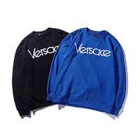 Versace 2018 men and women classic logo embroidery round neck sweater F-A-KSFZ