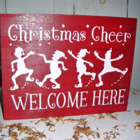 Christmas Cheer Welcome Here elf Christmas decoration, Christmas decorations, Christmas signs, Christmas decor, Elves, painted holiday signs