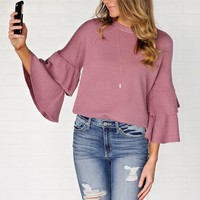 * Sofia Tiered Bell Sleeve Knit Top : Dark Rose