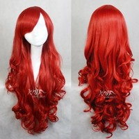 High Quality Top Sale 80cm Long Wave Red Cosplay Wig Party+free Wig Cap Os501c