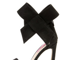 Betsey Johnson Friskyy Black Suede Leather High Heel Sandals