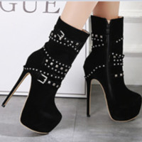 New hot rivet with high heel comfort joker boots