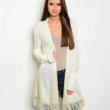 * IVORY TAUPE SWEATER CARDIGAN