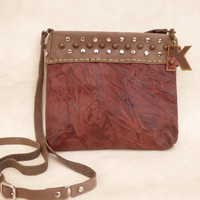 Marsala leather crossbody bag, distressed leather purse, personalized bag