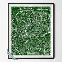 Rennes Print, France Poster, Rennes Poster, Rennes Map, France Print, France  Map, Voca Prints, Street Map, Wall Art