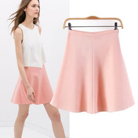 Pink High Elastic Waist A-Line Mini Skater Skirt