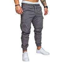 Hip Hop Harem Joggers Pants Solid Multi-pocket Pants Sweatpants