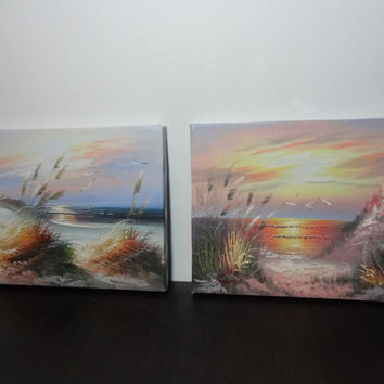 Vintage Paintings on Canvas - Set of 2 - 8 x 10 Beach Themed Art/Paintings - Signed by Artist