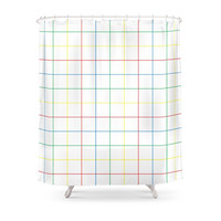 Society6 Primary Plaid Shower Curtain