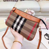 BURBERRY Popular Women Chic Classic Plaid Satchel Shoulder Bag Crossbody