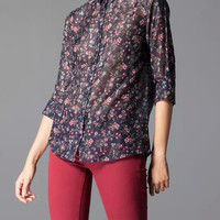 Floral Print Long-Sleeve Button Collared Shirt