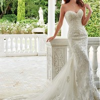 [226.99] Romantic Tulle Sweetheart Neckline Mermaid Wedding Dresses With Lace Appliques - dressilyme.com