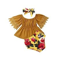Three Piece Lace and Mustard Boho Baby Outfit