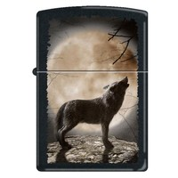 Zippo 3731 Classic Wolf Howling At Moon Black Matte Finish Windproof Pocket Lighter