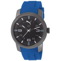 Puma PU103071002 Men's Essence Black Dial Black IP Steel Blue Rubber Strap Watch