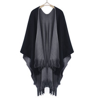 Feitong 2016 New Winter Women Overwear Coat Oversized Knitted Cashmere Poncho Capes Duplex Shawl Cardigans Sweater With Tassel