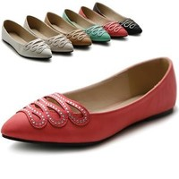 ollio Womens Shoes Ballet Infinity Rhinestone Pointed Toe Flats