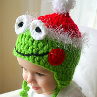 Santa Frog Hat Christmas Frog Baby Hat Red White Santa Clause Hat Christmas Baby Hat Green Frog Earflaps Winter Hat Photography