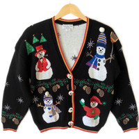 Vintage 90s Happy Snwomen Tacky Ugly Christmas Sweater