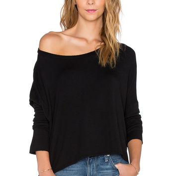 Beautiful People Supersoft Fleece Off The Shoulder Pullover in Black