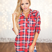 Plaid and Chiffon Button Up Top Red