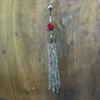 Belly Button Ring - Body Jewelry -Silver Dangly Chain With Red Gem Stone Belly Button Ring